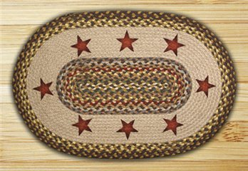 "Gold Stars Braided and Printed Oval Rug 20""x30"""