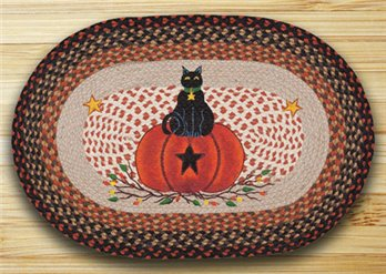 "Black Cat Pumpkin Braided and Printed Oval Rug 20""x30"""