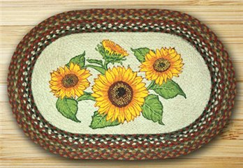 "Sunflowers Braided and Printed Oval Rug 20""x30"""