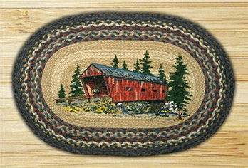 "Covered Bridge Braided and Printed Oval Rug 20""x30"""