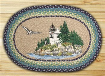 "Bass Harbor Braided and Printed Oval Rug 20""x30"""