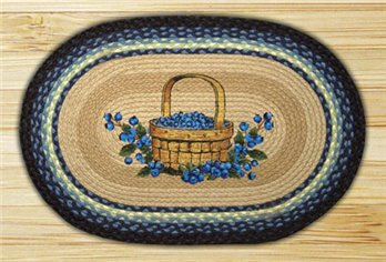 "Blueberry Basket Braided and Printed Oval Rug 20""x30"""