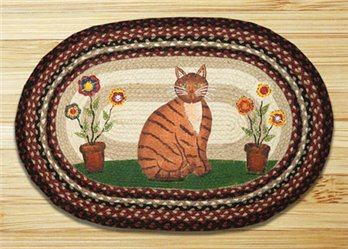 "Folk Art Cat Braided and Printed Oval Rug 20""x30"""