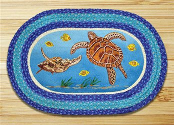 "Sea Turtle Braided and Printed Oval Rug 20""x30"""