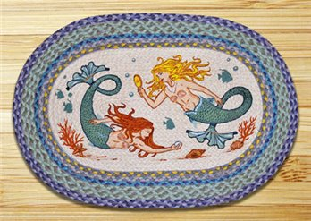 "Mermaids Braided and Printed Oval Rug 20""x30"""