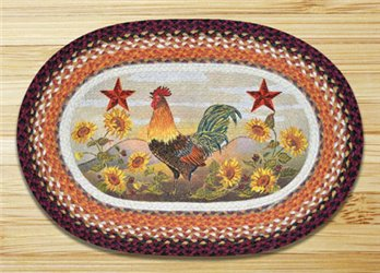"Morning Rooster Braided and Printed Oval Rug 20""x30"""