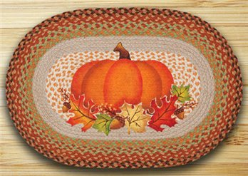 "Pumpkin Leaf Braided and Printed Oval Rug 20""x30"""
