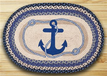 "Navy Anchor Braided and Printed Oval Rug 20""x30"""