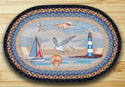 "Blue Sea Coastal Braided and Printed Oval Rug 20""x30"""