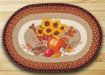 "Harvest Melody Braided and Printed Oval Rug 20""x30"""