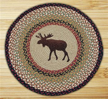 "Moose Braided and Printed Round Rug 27""x27"""