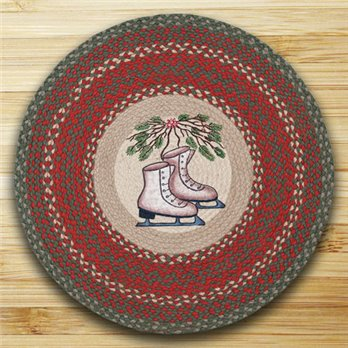 "Skates Braided and Printed Round Rug 27""x27"""