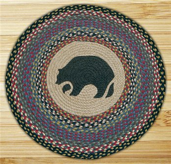 "Black Bear Braided and Printed Round Rug 27""x27"""