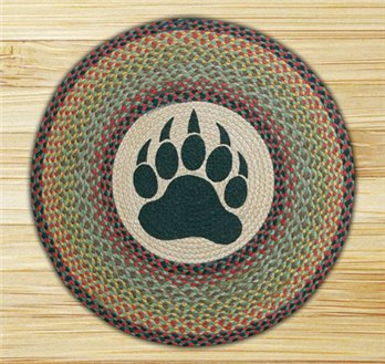 "Bear Paw Braided and Printed Round Rug 27""x27"""