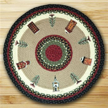"Winter Village Braided and Printed Round Rug 27""x27"""
