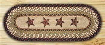 Barn Stars Oval Braided Rug 2'x6'
