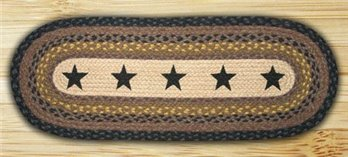 Stars Oval Braided Rug 2'x6'