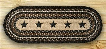 Black Stars Oval Braided Rug 2'x6'