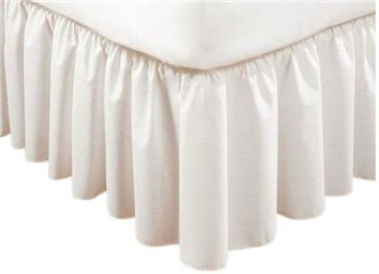 Extra Long Plain 21 inch Twin White Bedruffle