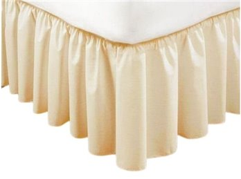 Extra Long Plain 21 inch Queen Ivory Bedruffle