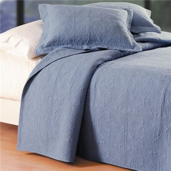 Colonial Blue Quilted Matelasse King Quilt