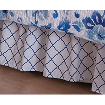 Sasha Blue Lattice King Bedskirt