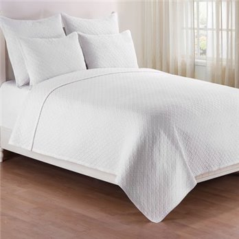 Basketweave White Full Queen 3 Piece Quilt Set