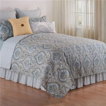 Amherst Blue Full Queen 3 Piece Quilt Set