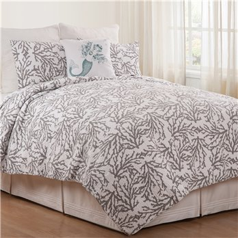 Cora Gray Full Queen 3 Piece Quilt Set
