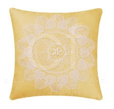 Linen with Lace Applique Pillow