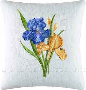 Blue and Yellow Irises Embroidered Pillow