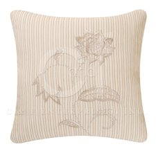 Beige Stripes 5 Leaf Embroidered Flower Pillow