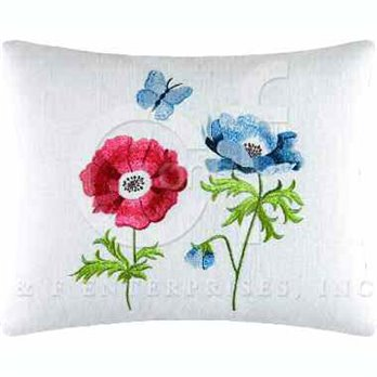 Anemones Embroidered Pillow