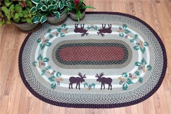 Moose and Pinecone Braided and Printed Oval Rug 4'x6'