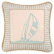 Coastal Living Stripes and Sailboat Embroidered Pillow