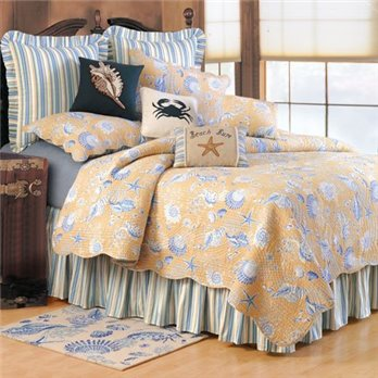 Taupe Shells Full Queen 3 Piece Quilt Set