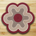 "Maroon & Natural Flower Shaped Rug 27""x27"""
