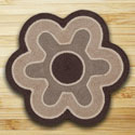 "Chocolate & Natural Flower Shaped Rug 27""x27"""