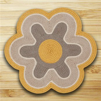 "Marigold & Natural Flower Shaped Rug 27""x27"""