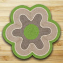 "Lime & Natural Flower Shaped Rug 27""x27"""