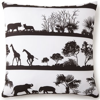 African Safari Euro Sham - White Background, Black Print