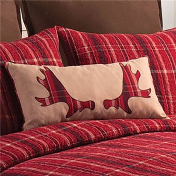 Collin Red Applique Moose Rack Pillow