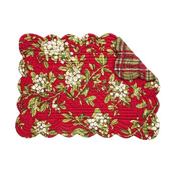Mistletoe Leaves Rectangular Quilted Placemat