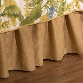 "Cayman Golden Grass Cloth Cal King 15"" Drop Bedskirt"