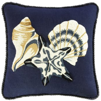 Ocean Wave Shells and Starfish Hooked Pillow