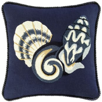 Ocean Wave Shells and Swirl Hooked Pillow