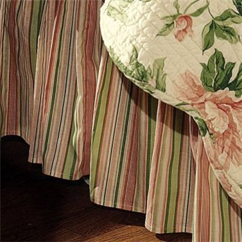 Pink & Sage Stripes King Bedskirt for Mia Quilt