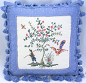 Colonial Boy & Peacock Needlepoint Pillow with tassels, 16 inch square