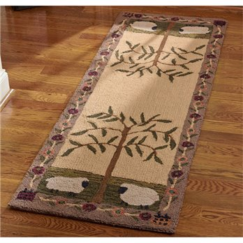 Willow and Sheep Hooked Rug Runner 24x72