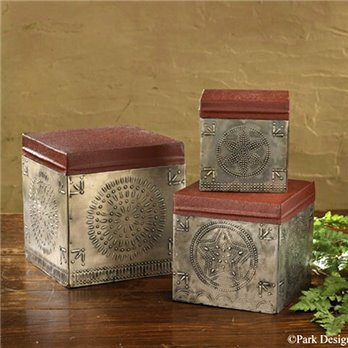 Punched Tin Boxes Set of 3